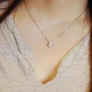 Jewelry - NEW 2ct Solitaire Diamond Sterling Silver Necklace